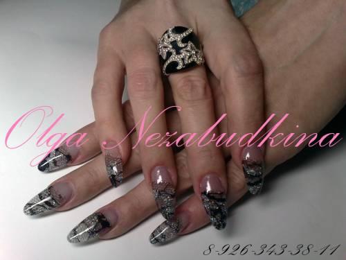 кружево на ногтях, дизайн ногтей с кружевом.