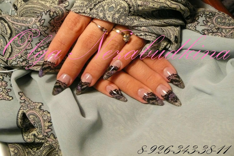 Фото дизайна нарощенных ногтей кружева